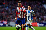Saul Niguez of Atletico de Madrid and Wu Lei of RCD Espanyol during La Liga match between Atletico de Madrid and RCD Espanyol at Wanda Metropolitano Stadium in Madrid, Spain. November 10, 2019. (ALTERPHOTOS/A. Perez Meca)