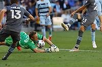 ST. PAUL, MN - AUGUST 21: Tim Melia #29 of Sporting Kansas City with a save during a game between Sporting Kansas City and Minnesota United FC at Allianz Field on August 21, 2021 in St. Paul, Minnesota.