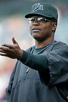 Tampa Bay Devil Rays Manager Hal McRae before a 2002 MLB season game against the Los Angeles Angels at Angel Stadium, in Los Angeles, California. (Larry Goren/Four Seam Images)