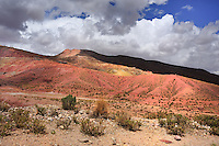 BOLIVIA - PULACAYO MINE AREA<br /> Brilliantly coloured rocks rise beside the road and a mineral-rich stream reveals streaks of blue, yellow, red and green<br /> <br /> Full size: 69,2 MB