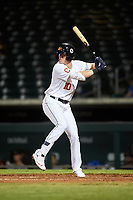 Mesa Solar Sox Nolan Jones (10), of the Cleveland Indians organization, at bat during an Arizona Fall League game against the Scottsdale Scorpions on September 18, 2019 at Sloan Park in Mesa, Arizona. Scottsdale defeated Mesa 5-4. (Zachary Lucy/Four Seam Images)