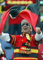 Angola fan celebrates before their game against Mexico. Mexico and Angola played to a 0-0 tie in their FIFA World Cup Group D match at FIFA World Cup Stadium, Hanover, Germany, June 16, 2006.