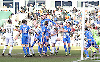 Ryan Bird of Newport County  scores his sides first goal of the match during the Sky Bet League Two match between Newport County and Hartlepool United at Rodney Parade, Newport, Wales, UK. Saturday 28 January 2017