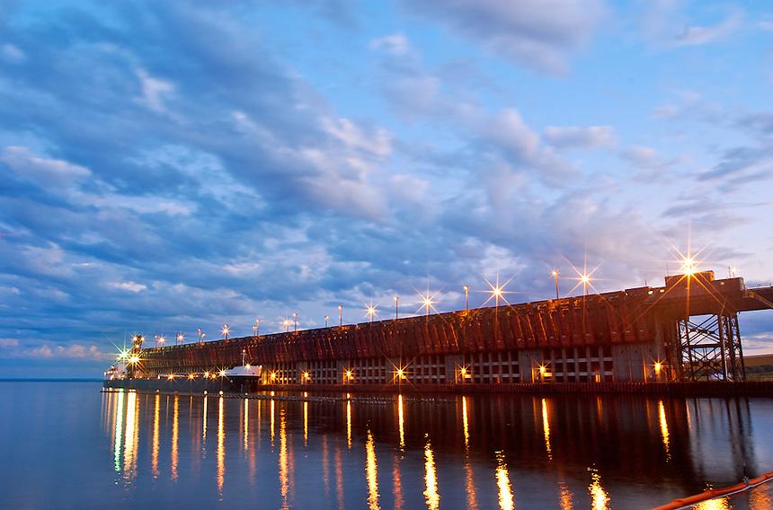 Evening snapshot of Marquette Upper Harbor iron ore loading dock.