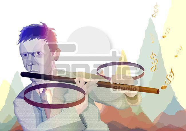 Illustrative image of businessman playing percentage flute representing finance