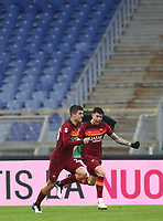 Football, Serie A: AS Roma -  FC Internazionale Milano, Olympic stadium, Rome, January 10, 2021. <br /> Roma's Gianluca Mancini (l) celebrates after scoring with his teammate Gonzalo Villar (r) during the Italian Serie A football match between Roma and Inter at Rome's Olympic stadium, on January 10, 2021.  <br /> UPDATE IMAGES PRESS/Isabella Bonotto
