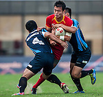 Players in action during the Shanghai Rugby Sevens 2013 at Yuanshen Stadium on October 26, 2013 in Shanghai, China. Photo by Xaume Olleros / The Power of Sport Images