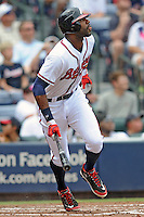 Atlanta Braves right fielder Jason Heyward #22 runs to first during a game against the Colorado Rockies at Turner Field on September 3, 2012 in Atlanta, Georgia. The Braves  defeated the Rockies 6-1. (Tony Farlow/Four Seam Images).