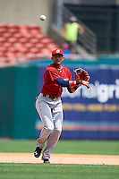Columbus Clippers shortstop Erik Gonzalez (2) throws to first during a game against the Buffalo Bisons on July 19, 2015 at Coca-Cola Field in Buffalo, New York.  Buffalo defeated Columbus 4-3 in twelve innings.  (Mike Janes/Four Seam Images)