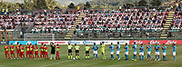 Teams line up and prior to the friendly football match between SSC Napoli and Castel di Sangro Cep 1953 at stadio Patini in Castel di Sangro, Italy, August 28, 2020. <br /> Photo Cesare Purini / Insidefoto