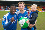 St Johnstone v Motherwell.....19.05.13      SPL.Nigel Hasselbaink and Liam Craig celebrate with Liam's son Calvin.Picture by Graeme Hart..Copyright Perthshire Picture Agency.Tel: 01738 623350  Mobile: 07990 594431