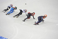 OLYMPIC GAMES: PYEONGCHANG: 22-02-2018, Gangneung Ice Arena, Short Track, A-Final 1000m Ladies, Choi Minjeong (KOR), Arianna Fontana (ITA), Shim Sukhee (KOR), Kim Boutin (CAN), Suzanne Schulting (NED), ©photo Martin de Jong