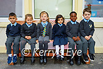 Junior infants in St Johns school in Ashe Street Tralee on Wednesday, l to r: Lukas Gazi, Kiara Griffin, Luize Didriksone, Zukhruf Anwar, Pempho Mbuliro, Hugo McCarthy.