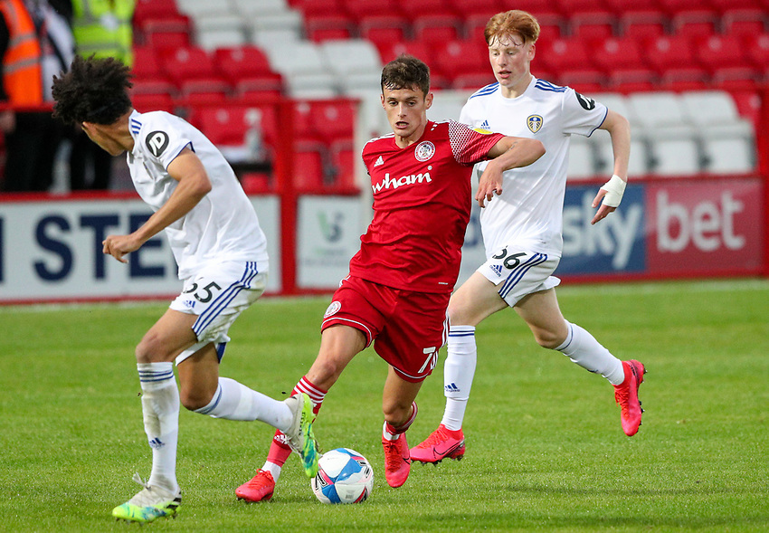 Accrington Stanley's Tom Allan takes on Leeds United U21's Jeremiah Mullen<br /> <br /> Photographer Alex Dodd/CameraSport<br /> <br /> EFL Trophy Northern Section Group G - Accrington Stanley v Leeds United U21 - Tuesday 8th September 2020 - Crown Ground - Accrington<br />  <br /> World Copyright © 2020 CameraSport. All rights reserved. 43 Linden Ave. Countesthorpe. Leicester. England. LE8 5PG - Tel: +44 (0) 116 277 4147 - admin@camerasport.com - www.camerasport.com