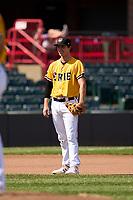 Erie SeaWolves third baseman Andre Lipcius (18) during a game against the Harrisburg Senators on September 5, 2021 at UPMC Park in Erie, Pennsylvania.  (Mike Janes/Four Seam Images)