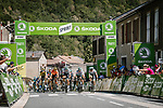 The lead group with Bora-Hansgrohe on the front at the intermediate sprint point during Stage 7 of Tour de France 2020, running 168km from Millau to Lavaur, France. 4th September 2020.<br /> Picture: ASO/Pauline Ballet | Cyclefile<br /> All photos usage must carry mandatory copyright credit (© Cyclefile | ASO/Pauline Ballet)