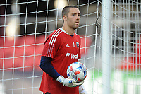 WASHINGTON, DC - MAY 13: Chris Seitz #1 of D.C. United warming up during a game between Chicago Fire FC and D.C. United at Audi FIeld on May 13, 2021 in Washington, DC.