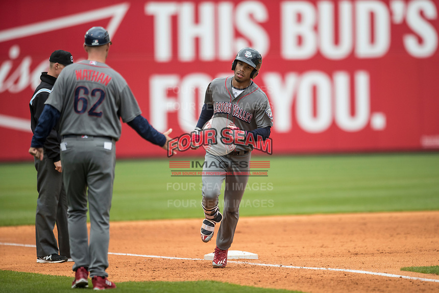 Lehigh Valley IronPigs outfielder Nick Williams (4) rounds third base after hitting a home run against the Toledo Mud Hens during the International League baseball game on April 30, 2017 at Fifth Third Field in Toledo, Ohio. Toledo defeated Lehigh Valley 6-4. (Andrew Woolley/Four Seam Images)