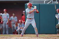 Brett Kinneman (6) of the North Carolina State Wolfpack at bat against the Northeastern Huskies at Doak Field at Dail Park on June 2, 2018 in Raleigh, North Carolina. The Wolfpack defeated the Huskies 9-2. (Brian Westerholt/Four Seam Images)