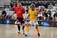 Cooper Duggan of Capital during the Men's Futsal SuperLeague, Canterbury United Futsal Dragons v Capital Futsal at ASB Sports Centre, Wellington on Saturday 31 October 2020.<br /> Copyright photo: Masanori Udagawa /  www.photosp ort.nz