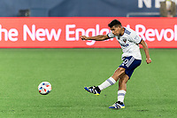 FOXBOROUGH, MA - APRIL 24: Edison Flores #10 of D.C. United takes a shot during a game between D.C. United and New England Revolution at Gillette Stadium on April 24, 2021 in Foxborough, Massachusetts.
