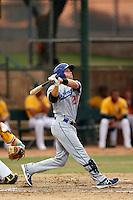 Scott Wingo #28 of the AZL Dodgers bats against the AZL Athletics at Phoenix Municipal Stadium on July 10, 2013 in Phoenix, Arizona. AZL Athletics defeated the AZL Dodgers, 7-1. (Larry Goren/Four Seam Images)