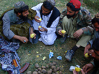 Foot soldiers from the Wardak Mobile Patrol enjoy a meal of ground oven baked pataoes under the shade of a garden in a safe haven property