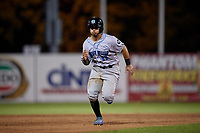 Hudson Valley Renegades Luis Trevino (17) running the bases during a NY-Penn League game against the Mahoning Valley Scrappers on July 15, 2019 at Eastwood Field in Niles, Ohio.  Mahoning Valley defeated Hudson Valley 6-5.  (Mike Janes/Four Seam Images)