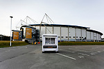 An exterior view of the KCOM Stadium, with a programme kiosk. Hull 2 Sunderland 2, League One 20th April 2021.