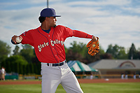 State College Spikes Moises Castillo (29) during warmups before a NY-Penn League game against the Batavia Muckdogs on July 2, 2019 at Dwyer Stadium in Batavia, New York.  Batavia defeated State College 1-0.  (Mike Janes/Four Seam Images)