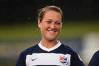 Sky Blue FC midfielder Brittany Bock (10). FC Kansas City defeated Sky Blue FC 1-0 during a National Women's Soccer League (NWSL) match at Yurcak Field in Piscataway, NJ, on July 28, 2013.