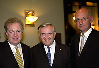 FILE PHOTO -  Jean Charest (L) and Prime Minister of France Jean-Pierre Raffarin (M) , May 24, 2003, while visiting  Quebec Province, <br /> <br /> PHOTO : Agence quebec Presse