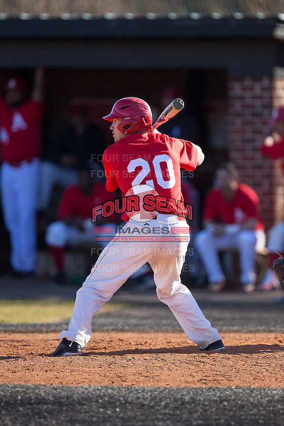 Jacob Dietz (20) of the Belmont Abbey Crusaders at bat against the Shippensburg Raiders at Abbey Yard on February 8, 2015 in Belmont, North Carolina.  The Raiders defeated the Crusaders 14-0.  (Brian Westerholt/Four Seam Images)
