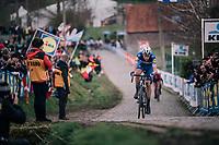 Niki Terpstra (NED/Quick-Step Floors) leading the race over the last ascent Paterberg<br /> <br /> 102nd Ronde van Vlaanderen 2018 (1.UWT)<br /> Antwerpen - Oudenaarde (BEL): 265km