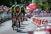 Adam Yates (GBR/Mitchelton-Scott) putting the hammer down with 1 km to go<br /> <br /> Stage 3 (Team Time Trial): Cholet > Cholet (35km)<br /> <br /> 105th Tour de France 2018<br /> ©kramon