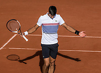 Paris, France, 4 June, 2017, Tennis, French Open, Roland Garros,  Novak Djokovic (SRB) reacts<br /> Photo: Henk Koster/tennisimages.com