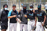 Miami Marlins Greg Bourne, Jose Salas, Victor Mesa Jr., Ian Lewis, and Osiris Johnson during a Minor League Spring Training camp day on April 28, 2021 at Roger Dean Chevrolet Stadium Complex in Jupiter, Fla.  (Mike Janes/Four Seam Images)