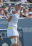Ekaterina Makarova (RUS) battles extreme heat to defeats Eugenie Bouchard (CAN) 7-6, 6-4 at the US Open being played at USTA Billie Jean King National Tennis Center in Flushing, NY on September 1, 2014