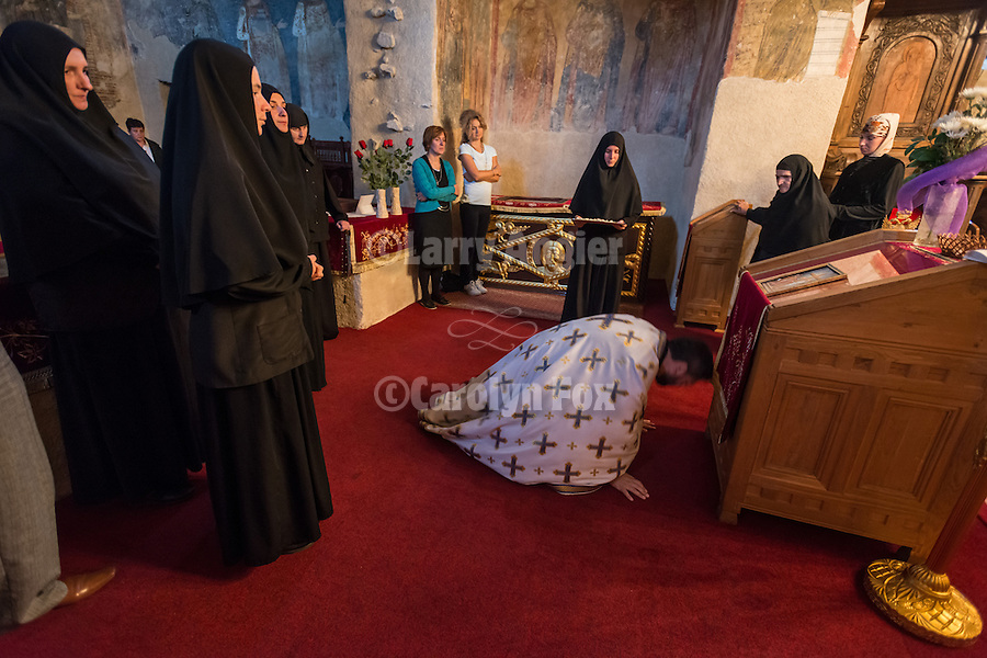 The Exaltation (Elevation) of the Holy Cross liturgy service, inside the Church of the Ascension of Jesus Christ at the Monastery Mileševa, Serbia originally built in the 13th century. Reverend Hieromonk Leontije, monastery priest