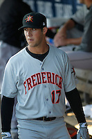 Frederick Keys second baseman Steve Wilkerson (17) before a game against the Myrtle Beach Pelicans at Ticketreturn.com Field at Pelicans Ballpark on April 7, 2016 in Myrtle Beach, South Carolina. Myrtle Beach defeated Frederick 5-2. (Robert Gurganus/Four Seam Images)