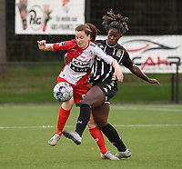 Summer Rogiers (8) of Zulte Waregem and Manyima Stevelmans () of Sporting du Pays de Charleroi  pictured during a female soccer game between Sporting Charleroi and SV Zulte-Waregem on the third matchday in the 2021 - 2022 season of Belgian Scooore Womens Super League , friday 3 September 2021 in Marcinelle , Belgium . PHOTO SPORTPIX | STIJN AUDOOREN