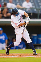 Andrew Maggi #15 of Team USA makes contact with the baseball against Team Korea at Knights Stadium July 16, 2010, in Fort Mill, South Carolina.  Photo by Brian Westerholt / Four Seam Images
