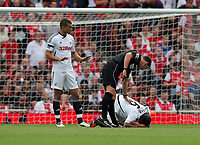 Pictured: (L-R) Steven Caulker and Kemy Agustien of Swansea City. Saturday 10 September 2011<br />