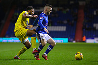 Oldham Athletic's Jack Byrne under pressure from AFC Wimbledon's Tom Soares  during the Sky Bet League 1 match between Oldham Athletic and AFC Wimbledon at Boundary Park, Oldham, England on 21 November 2017. Photo by Juel Miah/PRiME Media Images