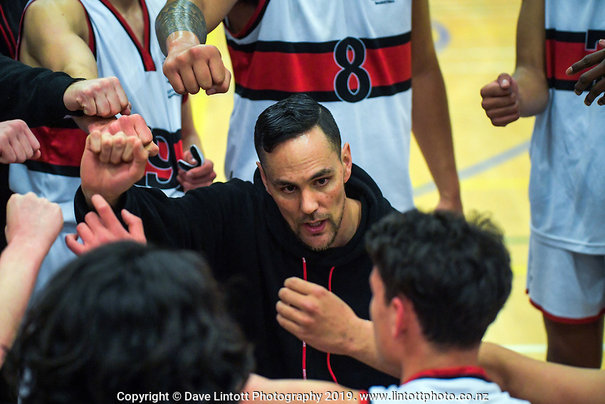 Scots College coach Troy McLean during the 2019 Schick AA Boys' Secondary Schools Basketball Premiership National Championship match between Scots College and Rongotai College at the Central Energy Trust Arena in Palmerston North, New Zealand on Monday, 30 September 2019. Photo: Dave Lintott / lintottphoto.co.nz