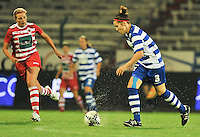 20130913 - ANTWERPEN , BELGIUM : Gent's Elien Van Wynendaele (right) pictured with the ball in front of Antwerp Sophie Mannaert (left) during the female soccer match between Royal Antwerp FC Vrouwen / Ladies and K AA Gent Ladies at the BOSUIL STADIUM , of the fourth matchday in the BENELEAGUE competition. Friday 13 September 2013. PHOTO DAVID CATRY