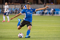 SAN JOSE, CA - MAY 01: Cristian Espinoza #10 of the San Jose Earthquakes shoots the ball during a game between San Jose Earthquakes and D.C. United at PayPal Park on May 01, 2021 in San Jose, California.