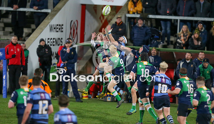 Wednesday 2nd January 2019 | MMW Junior Cup Final 2019<br /> <br /> Lewis Finlay during the  2019 MMW Ulster Junior Cup Final between Ballynahinch RFC and Dromore RFC at Kingspan Stadium, Ravenhill Park, Belfast, Northern Ireland. Photo by John Dickson / DICKSONDIGITAL