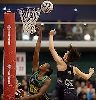 14.09.2016 Silver Ferns Bailey Mes and Jamacia's Stacian Facey in action during the Taini Jamison netball match between the Silver Ferns and Jamaica played at Arena Manawatu in Palmerston North. Mandatory Photo Credit ©Michael Bradley.