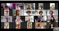 """BNPS.co.uk (01202 558833)<br /> Pic: BNPS<br /> <br /> Pictured Sunday Morning: Floral heard dress party goers at one of the garden parties taking place over 'Zoom'.<br /> <br /> Britain's biggest ever 'virtual garden party' is taking place today to help boost the nation's mental wellbeing during the lockdown.<br /> <br /> Participants in Garden Day have donned flower crowns and video-called family and friends while respecting social distancing in the sanctuary of their own gardens.<br /> <br /> The event is being supported by leading gardeners including 13 time RHS Gold medallist Chris Beardshaw.<br /> <br /> Experts are putting on floristry, food and garden tours, as well as live demonstrations on Zoom and Facebook Live.<br /> <br /> Mr Beardshaw said: """"Garden Day is the perfect opportunity for us all to get into our gardens, share our experiences virtually, and participate in a movement that sows the seeds of health, happiness and healing."""